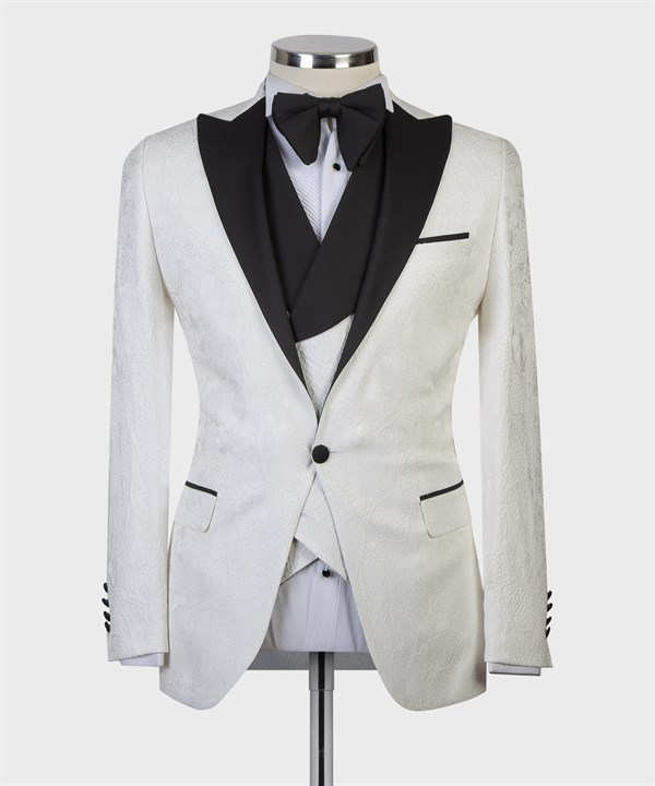Maserto Slim Fit White Tuxedo Flower Patterned