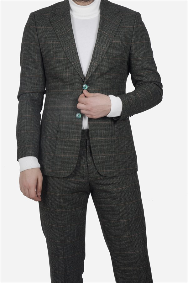 Maserto Slim Fit Green Suit Square Patterned