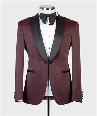 Maserto Slim Fit Bordeaux Tuxedo Plain Patterned