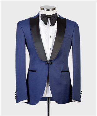 Maserto Slim Fit Blue Tuxedo Plain Patterned