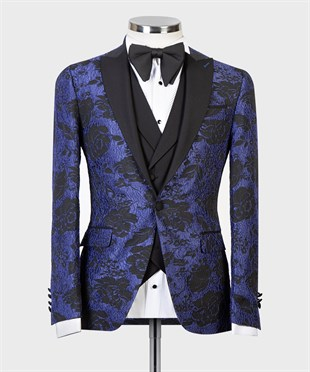 Maserto Slim Fit Blue Tuxedo Flower Patterned
