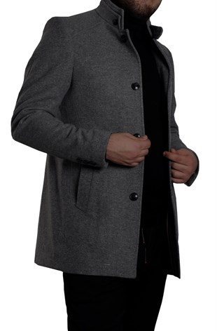 Maserto High Collar Slim Fit Gray Coat Plain Patterned