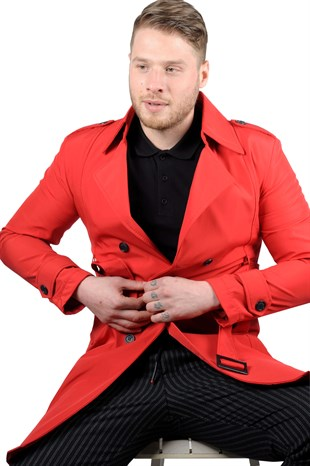 Maserto Slim Fit Mens Red Trench Coat