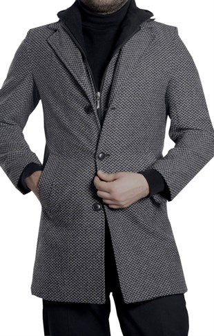 Maserto Mono Collar Slim Fit Gray Coat Striped Patterned