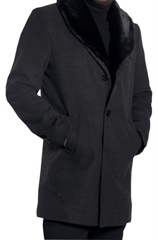 Maserto Mono Collar Slim Fit Black Coat Plain Patterned