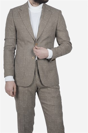 Maserto Slim Fit Light Brown Suit Square Patterned