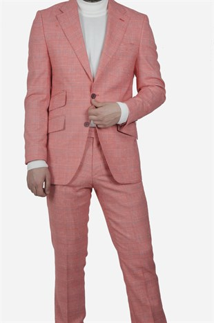 Maserto Slim Fit Pink Suit Square Patterned