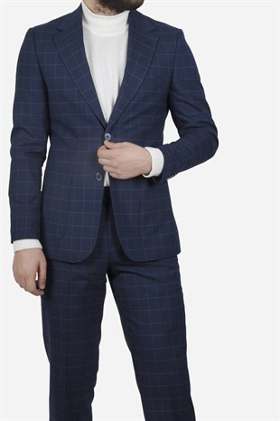 Maserto Slim Fit Navy Blue Suit Plaid Patterned
