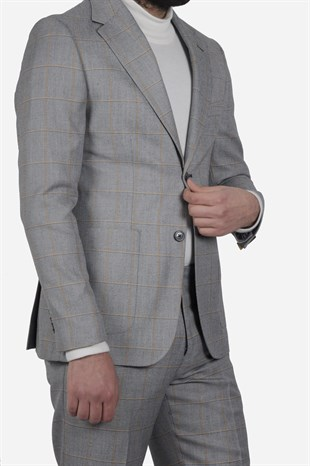 Maserto Slim Fit Light Gray Suit Plaid Patterned